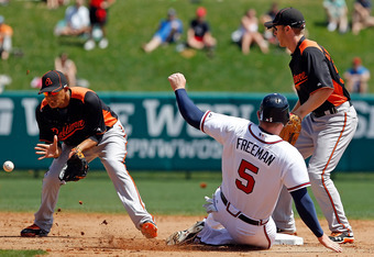 LAKE BUENA VISTA, FL - MARCH 18:  Shortstop Manny Machado #85 of the Baltimore Orioles takes the throw as infielder Freddie Freeman #5 of the Atlanta Braves slides into second base safely during a Grapefruit League Spring Training Game at Champion Stadium