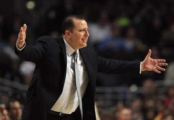 CHICAGO, IL - FEBRUARY 22:  Head coach Tom Thibodeau of the Chicago Bulls gives instructions to his team during a game against the Milwaukee Bucks at the United Center on February 22, 2012 in Chicago, Illinois. The Bulls defeated the Bucks 110-91. NOTE TO