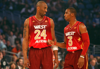 ORLANDO, FL - FEBRUARY 26:  (L-R) Western Conference All-Stars Kobe Bryant #24 of the Los Angeles Lakers and Chris Paul #3 of the Los Angeles Clippers talk on court during the 2012 NBA All-Star Game at the Amway Center on February 26, 2012 in Orlando, Flo