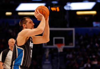 ORLANDO, FL - FEBRUARY 25:  Ryan Anderson of the ORlando Magic competes during the Foot Locker Three-Point Contest part of 2012 NBA All-Star Weekend at Amway Center on February 25, 2012 in Orlando, Florida.  NOTE TO USER: User expressly acknowledges and a