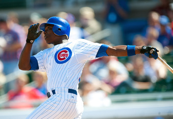 MESA, AZ - MARCH 8: Alfonso Soriano #12 of the Chicago Cubs hits a home run in the second inning during the game against the Seattle Mariners at HoHoKam Stadium on March 8, 2012 in Mesa, Arizona. (Photo by Rob Tringali/Getty Images)