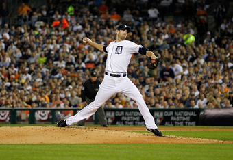DETROIT, MI - OCTOBER 11:  Doug Fister #58 of the Detroit Tigers throws a pitch in Game Three of the American League Championship Series against the Texas Rangers at Comerica Park on October 11, 2011 in Detroit, Michigan.  (Photo by Leon Halip/Getty Image