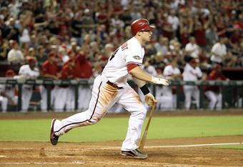PHOENIX, AZ - SEPTEMBER 23:  Paul Goldschmidt #44 of the Arizona Diamondbacks hits a two RBI triple against the San Francisco Giants during the eighth inning of the Major League Baseball game at Chase Field on September 23, 2011 in Phoenix, Arizona. The D