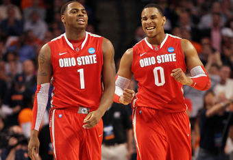 BOSTON, MA - MARCH 24:  Deshaun Thomas #1 and Jared Sullinger #0 of the Ohio State Buckeyes reacts after a play against the Syracuse Orange during the 2012 NCAA Men's Basketball East Regional Final at TD Garden on March 24, 2012 in Boston, Massachusetts.