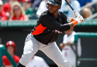 JUPITER, FL - MARCH 18:  Jose Reyes #7 of the Miami Marlins bats during a game against the St. Louis Cardinals at Roger Dean Stadium on March 18, 2012 in Jupiter, Florida.  (Photo by Sarah Glenn/Getty Images)