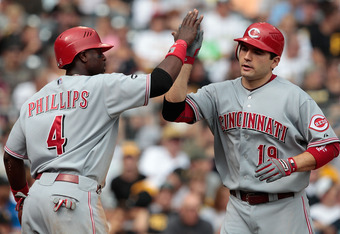 PITTSBURGH - AUGUST 21:  Joey Votto #19 of the Cincinnati Reds is congratulated by teammate Brandon Phillips #4 after hitting a three run home run in the 6th inning during the game on August 21, 2011 at PNC Park in Pittsburgh, Pennsylvania.  (Photo by Jar