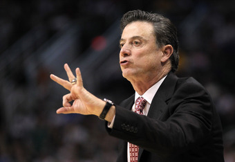 PHOENIX, AZ - MARCH 22:  Head coach Rick Pitino of the Louisville Cardinals calls out in the first half while taking on the Michigan State Spartans during the 2012 NCAA Men's Basketball West Regional Semifinal game at US Airways Center on March 22, 2012 i