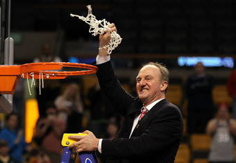 BOSTON, MA - MARCH 24:  Head coach Thad Matta  and the Ohio State Buckeyes cuts down the net after defeating the Syracuse Orange during the 2012 NCAA Men's Basketball East Regional Final at TD Garden on March 24, 2012 in Boston, Massachusetts.  (Photo by