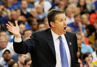 ATLANTA, GA - MARCH 25:  Head coach John Calipari of the Kentucky Wildcats reacts against the Baylor Bears during the 2012 NCAA Men's Basketball South Regional Final at the Georgia Dome on March 25, 2012 in Atlanta, Georgia.  (Photo by Kevin C. Cox/Getty