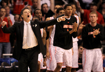 PHOENIX, AZ - MARCH 24:  Head coach Rick Pitino of the Louisville Cardinals reacts in front of the bench late in the second half while taking on the Florida Gators during the 2012 NCAA Men's Basketball West Regional Final at US Airways Center on March 24,