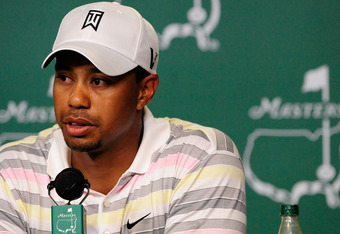AUGUSTA, GA - APRIL 05:  Tiger Woods addresses members of the media during a press conference prior to the 2010 Masters Tournament at Augusta National Golf Club on April 5, 2010 in Augusta, Georgia.  (Photo by Rusty Jarrett-Pool/Getty Images)