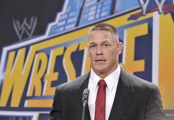 EAST RUTHERFORD, NJ - FEBRUARY 16: John Cena attends a press conference to announce that MetLife Stadium will host WWE Wrestlemania 29 in 2013 at MetLife Stadium on February 16, 2012 in East Rutherford, New Jersey. (Photo by Michael N. Todaro/Getty Images