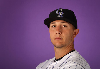 SCOTTSDALE, AZ - FEBRUARY 28:  Troy Tulowitzki #2 of the Colorado Rockies poses for a portrait during spring training photo day at Salt River Fields at Talking Stick on February 28, 2012 in Scottsdale, Arizona.  (Photo by Christian Petersen/Getty Images)