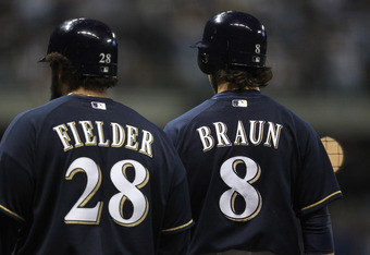 MILWAUKEE, WI - OCTOBER 10:  (L-R) Prince Fielder #28 and Ryan Braun #8 of the Milwaukee Brewers stand on the field against the St. Louis Cardinals during Game Two of the National League Championship Series at Miller Park on October 10, 2011 in Milwaukee,