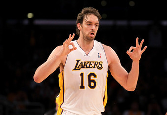 LOS ANGELES, CA - MARCH 18:  Pau Gasol #16 of the Los Angeles Lakers gestures after making a three point shot against the Utah Jazz at Staples Center on March 18, 2012 in Los Angeles, California.   NOTE TO USER: User expressly acknowledges and agrees that