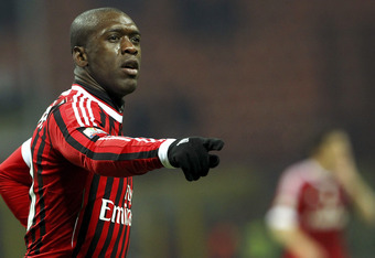 MILAN, ITALY - JANUARY 26:  Clarence Seedorf of AC Milan celebrates his goal during the Tim Cup match between AC Milan and SS Lazio at Giuseppe Meazza Stadium on January 26, 2012 in Milan, Italy.  (Photo by Marco Luzzani/Getty Images)