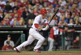 PHILADELPHIA, PA - OCTOBER 07:  Chase Utley #26 of the Philadelphia Phillies bats against the St. Louis Cardinals during Game Five of the National League Divisional Series at Citizens Bank Park on October 7, 2011 in Philadelphia, Pennsylvania.  (Photo by