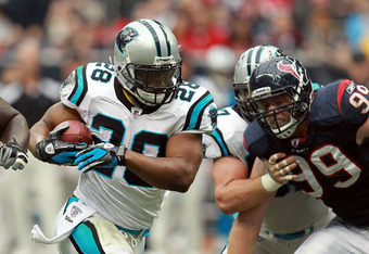 HOUSTON, TX - DECEMBER 18:  Jonathan Stewart #28 of the Carolina Panthers at Reliant Stadium on December 18, 2011 in Houston, Texas.  (Photo by Ronald Martinez/Getty Images)