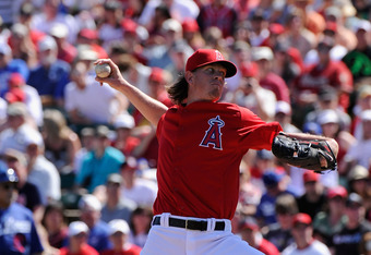 TEMPE, AZ - MARCH 12:  Jered Weaver #36 of the Los Angeles Angels of Anaheim plays in the spring training baseball game against the Los Angeles Dodgers at Tempe Diablo Stadium on March 12, 2012 in Tempe, Arizona.  (Photo by Kevork Djansezian/Getty Images)