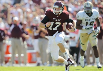 COLLEGE STATION, TX - OCTOBER 15:  Ryan Tannehill #17 of the Texas A&M Aggies runs during a game against the Baylor Bears at Kyle Field on October 15, 2011 in College Station, Texas. The Texas A&M Aggies defeated the Baylor Bears 55-28.  (Photo by Sarah G