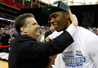 ATLANTA, GA - MARCH 25:  Terrence Jones #3 of the Kentucky Wildcats celebrates with head coach John Calipari after their 82 to 70 win over the Baylor Bears during the 2012 NCAA Men's Basketball South Regional Final at the Georgia Dome on March 25, 2012 in