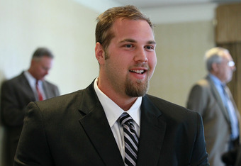 SAN FRANCISCO, CA - AUGUST 01:  California Golden Bears football offensive lineman Mitchell Schwartz speaks to reporters during the Bay Area college football media day at the Hotel Nikko on August 1, 2011 in San Francisco, California.  Players and coaches