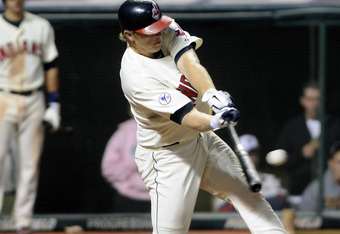 CLEVELAND, OH - SEPTEMBER 24: Shelley Duncan #47 of the Cleveland Indians hits a two RBI double during the seventh inning against the Minnesota Twins at Progressive Field on September 24, 2011 in Cleveland, Ohio. (Photo by Jason Miller/Getty Images)