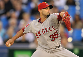 TORONTO, CANADA - SEPTEMBER 20:  Joel Pineiro #35 of the Los Angeles Angels of Anaheim pitches against the Toronto Blue Jays in a MLB game on September 20, 2011 at the Rogers Centre in Toronto, Canada. (Photo by Claus Andersen/Getty Images)