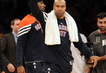 LOS ANGELES, CA - MARCH 29:  Derek Fisher #37 of the Oklahoma City Thunder celebrates a 102-93 Thunder win over the Los Angeles Lakers at Staples Center on March 29, 2012 in Los Angeles, California.  NOTE TO USER: User expressly acknowledges and agrees th