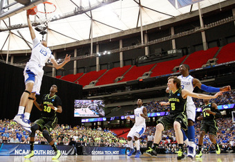 ATLANTA, GA - MARCH 25:  Anthony Davis #23 of the Kentucky Wildcats shoots against the Baylor Bears during the 2012 NCAA Men's Basketball South Regional Final at the Georgia Dome on March 25, 2012 in Atlanta, Georgia.  (Photo by Kevin C. Cox/Getty Images)