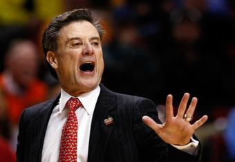 PORTLAND, OR - MARCH 15:  Head coach Rick Pitino of the Louisville Cardinals reacts in the first half while taking on the Davidson Wildcats in the second round of the 2012 NCAA men's basketball tournament at Rose Garden Arena on March 15, 2012 in Portland