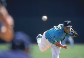 Livan Hernandez made his major league debut with the Florida Marlins in 1996.