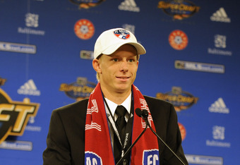 BALTIMORE - JANUARY 18:  Brek Shea after being selected second by FC Dallas in the MLS Super Draft on January 18, 2008 at the Baltimore Convention Center in Baltimore, Maryland.  (Photo by Mitchell Layton/Getty Images)