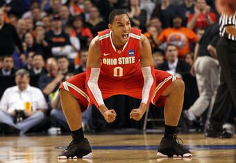 BOSTON, MA - MARCH 24:  Jared Sullinger #0 of the Ohio State Buckeyes reacts after a play against the Syracuse Orange during the 2012 NCAA Men's Basketball East Regional Final at TD Garden on March 24, 2012 in Boston, Massachusetts.  (Photo by Jim Rogash/