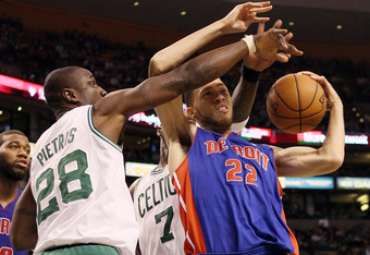 BOSTON, MA - FEBRUARY 15:  Tayshaun Prince #22 of the Detroit Pistons tries to keep the ball as Mickael Pietrus #28 of the Boston Celtics defends on February 15, 2012 at TD Garden in Boston, Massachusetts. The Detroit Pistons defeated the Boston Celtics 9