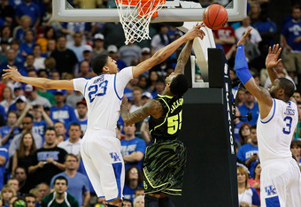 ATLANTA, GA - MARCH 25:  Pierre Jackson #55 of the Baylor Bears has his shot blocked by Anthony Davis #23 of the Kentucky Wildcats during the 2012 NCAA Men's Basketball South Regional Final at the Georgia Dome on March 25, 2012 in Atlanta, Georgia.  (Phot