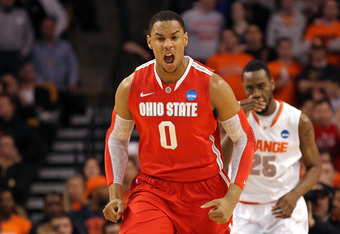BOSTON, MA - MARCH 24:  Jared Sullinger #0 of the Ohio State Buckeyes reacts after a basket against the Syracuse Orange during the 2012 NCAA Men's Basketball East Regional Final at TD Garden on March 24, 2012 in Boston, Massachusetts.  (Photo by Jim Rogas