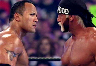 The Rock vs. Hulk Hogan at WrestleMania 18.
