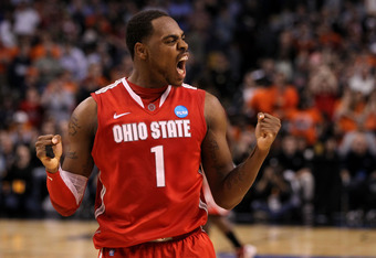 BOSTON, MA - MARCH 24:  Deshaun Thomas #1 of the Ohio State Buckeyes celebrates towards the end of the game against the Syracuse Orange during the 2012 NCAA Men's Basketball East Regional Final at TD Garden on March 24, 2012 in Boston, Massachusetts.  (Ph