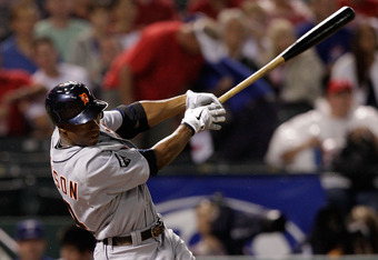 ARLINGTON, TX - OCTOBER 08:  Austin Jackson #14 of the Detroit Tigers hits an RBI double in the fifth inning of Game One of the American League Championship Series at Rangers Ballpark in Arlington on October 8, 2011 in Arlington, Texas.  (Photo by Bob Lev