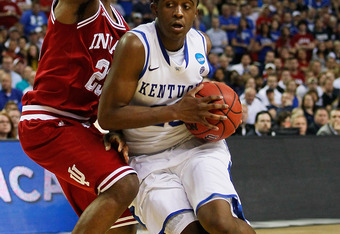 ATLANTA, GA - MARCH 23:  Doron Lamb #20 of the Kentucky Wildcats drives on Remy Abell #23 of the Indiana Hoosiers during the 2012 NCAA Men's Basketball South Regional Semifinal game at the Georgia Dome on March 23, 2012 in Atlanta, Georgia.  (Photo by Kev