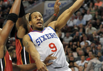 PHILADELPHIA, PA - MARCH 16:  Andre Iguodala #9 of the Philadelphia 76ers lays up a shot during the game against the Miami Heat at the Wells Fargo Center on March 16, 2012 in Philadelphia, Pennsylvania. The Heat won 84-78. NOTE TO USER: User expressly ack