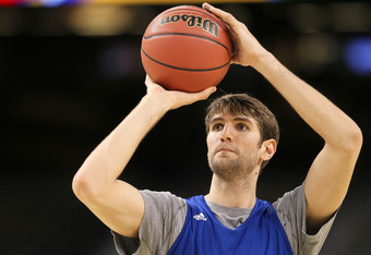 NEW ORLEANS, LA - MARCH 30:  Jeff Withey #5 of the Kansas Jayhawks shoots the ball during practice prior to the 2012 Final Four of the NCAA Division I Men's Basketball Tournament at the Mercedes-Benz Superdome on March 30, 2012 in New Orleans, Louisiana.