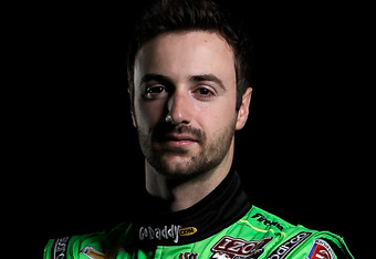 ST. PETERSBURG, FL - MARCH 07:    James Hinchcliffe of Canada, driver of the #27 GoDaddy.com Andretti Autosport Chevy DW12 poses for a portrait at the Mahaffey Theater on March 7, 2012 in St. Petersburg, Florida.  (Photo by Jonathan Ferrey/Getty Images)