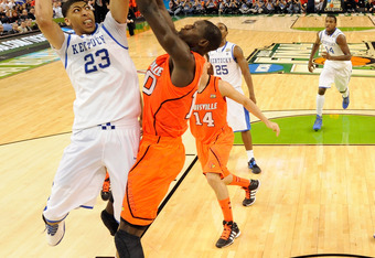 NEW ORLEANS, LA - MARCH 31:  Anthony Davis #23 of the Kentucky Wildcats goes up for a shot against the Gorgui Dieng #10 of the Louisville Cardinals during the National Semifinal game of the 2012 NCAA Division I Men's Basketball Championship at the Mercede