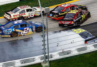 A melee in the race's final moments took out contenders Gordon(24), Johnson(48) and Bowyer(15)
