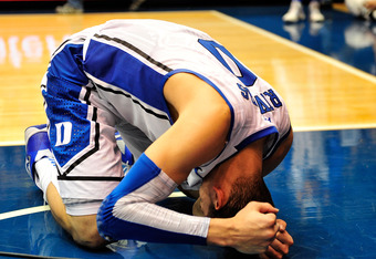 DURHAM, NC - JANUARY 21:  Austin Rivers #0 of the Duke Blue Devils reacts after a loss to the Florida State Seminoles at the buzzer at Cameron Indoor Stadium on January 21, 2012 in Durham, North Carolina. Florida State won 76-73 to end Duke's 44-game home