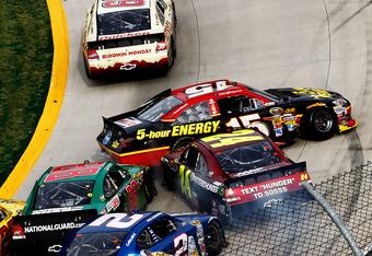 Late race Sprint Cup chaos. 39 Newman, 15 Clint Bowyer, 24 Gordon, 88 Earnhardt