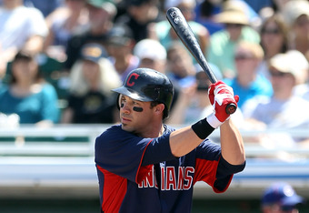 MESA, AZ - MARCH 28:  Jason Kipnis #22 of the Cleveland Indians bats against the Chicago Cubs during the spring training game at HoHoKam Park on March 28, 2012 in Mesa, Arizona  (Photo by Christian Petersen/Getty Images)