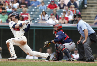 CLEVELAND, OH - SEPTEMBER 25: Jason Donald #16 of the Cleveland Indians bats against the Minnesota Twins during the ninth inning of their game on September 25, 2011 at Progressive Field in Cleveland, Ohio. The Twins defeated theIndians 6-4. (Photo by Davi